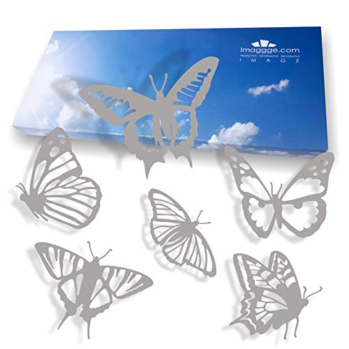 - imaggge.com Window Alert - Anti-Collision Decals to Prevent People and Bird Strikes on Window Glass - Set of 18 Detailed Butterflies Stickers - Color: Light Grey