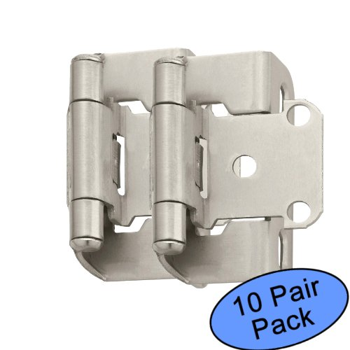 (Amerock BP7550-G10 Satin Nickel Self-Closing Partial Wrap Cabinet Hinge 1/2