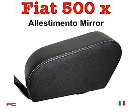 Black eco leather with white stitching ergonomic Filocar Design armrest Fiat 500x