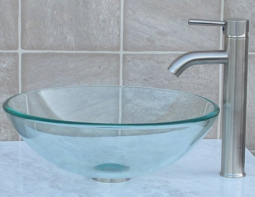 Bathroom glass Glass Vessel Sink Brushed nickel Faucet Combo brushed nickel Pop Up Drain Mounting Ring R12N3