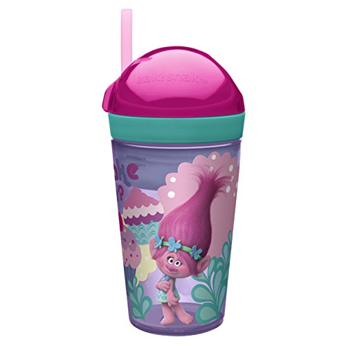 Zak! Designs Zak! Snak Snack & Drink Container Featuring Trolls Graphics, 4 oz. Snack and 10 oz. Drink in One Easy To Open Container, BPA-free and Break-resistant Plastic (Doors Frozen Open Car)