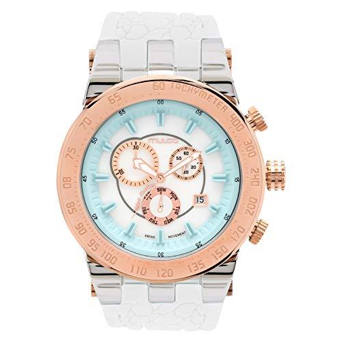 Mulco Unisex Swiss Quartz Watch - Bluemarine Trio - Stainless Steel Multifunctional and Light Watch (White/Aqua)