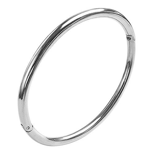 - Gevanya Polished Oval Hinge Tiny Bangle Bracelet Gold/Rose Gold/Silver for Women (Silver)