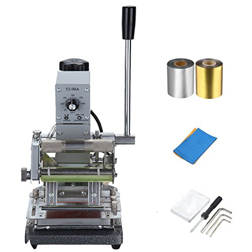Ridgeyard 300W Stainless Steel Manual Bronzing Tipper Stamper PVC Card Hot Foil Stamping Machine with 2 Roll Foil Paper ( Silver and Gold - Weight Paper 35 Text
