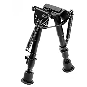 Ohuhu 6'' To 9'' Adjustable Handy Spring Return Sniper Hunting Tactical Rifle Bipod, Black