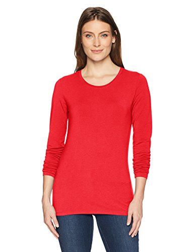 Amazon Essentials Women's Classic-Fit Long-Sleeve T-Shirt, Red, Small -