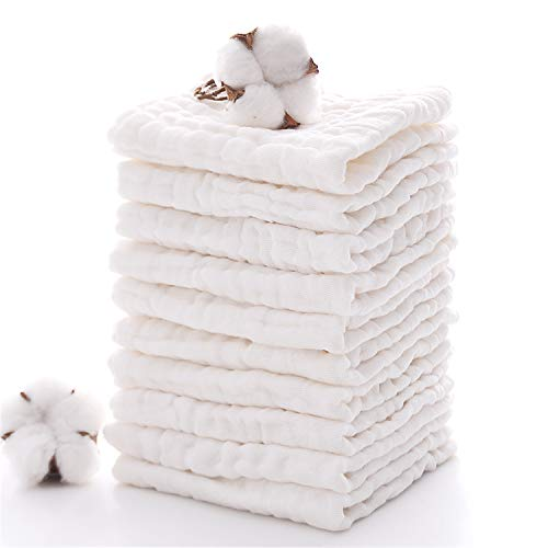 - Baby Muslin Washcloths- Natural Muslin Cotton Baby Wipes - Soft Newborn Baby Face Towel for Sensitive Skin- Baby Registry as Shower Gift, 10 Pack 12x12 inches by MUKIN (White)