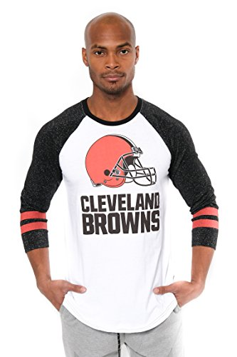 NFL Men's Cleveland Browns T-Shirt Raglan Baseball 3/4 Long Sleeve Tee Shirt, Large, White