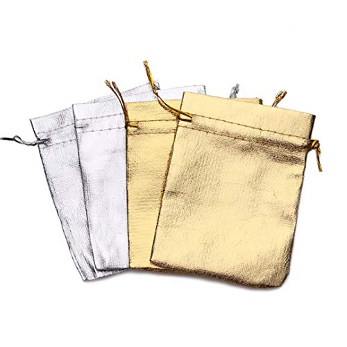 100Pcs Silver Golden Metallic Foil Cloth Organza Drawable Pouches Wedding Decoration Gifts Craft C y Packaging Bags Mixed 9x12cm