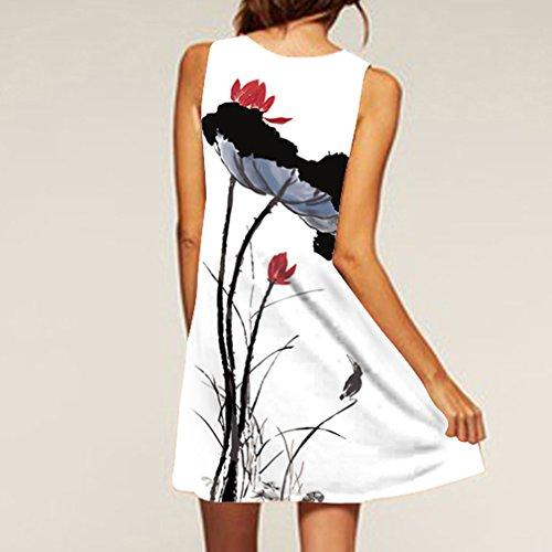 las Vendimia de Honghu la Vestido Sin Blanco Redondo la de del Verano Cuello Impresión amp;negro9 Mangas de Mujeres qfww65tp