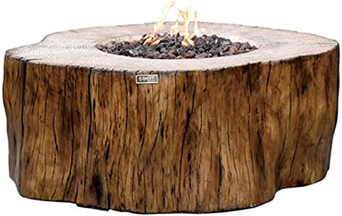 Elementi Manchester Outdoor Firepit Table 42 Inches Rectangular Fire Pit Concrete Patio Heater Electronic Ignition Backyard Fireplace Cover Lava Rock Included, Liquid Propane