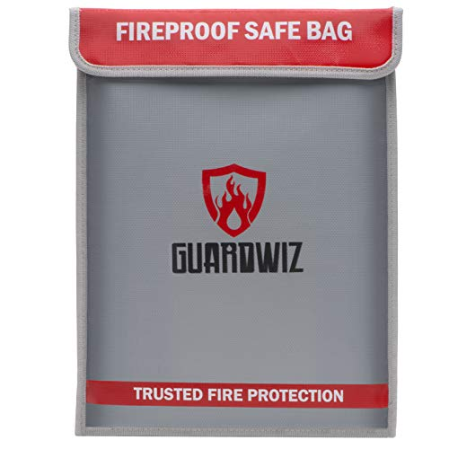 Fireproof Document Bag Guardwiz - 15 X 11 fire-Resistant Cash & Money Pouch with Zipper - Safe Bags for rc lipo Battery Charging, Storage & Travel - Home Safety & fire Protection