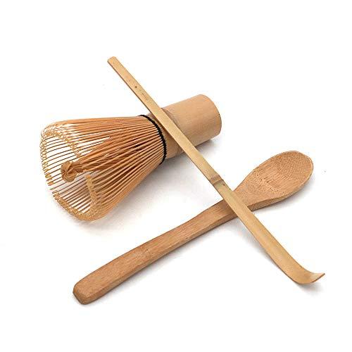 POFET Set de ceremonia de te japones hecho a mano Matcha te batidor de bambu, cuchara de te y cuchara de te pequena 3 piezas/set