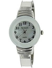 Women's Classic Chrome and White Bangle Watch