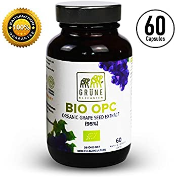Organic Grapeseed Extract OPC 410mg Capsules 95%, Proanthocyanidins Antioxidants, French Vineyard Grapes
