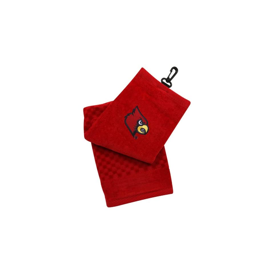 NCAA Louisville Cardinals Red Embroidered Team Logo Tri Fold Towel