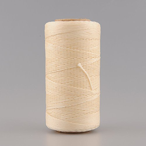 Soledi 260M 1mm 150D Flat Waxed Wax Thread Cord Sewing Craft for DIY Leather Tool Hand Stitching -- Biege ()