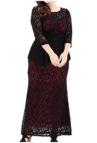Coolred-femmes Taille Plus Dentelle Classique Smockée Robe Fourreau Taille Crayon Rouge