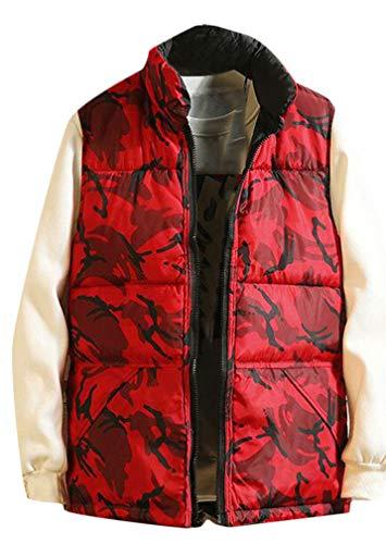 (Joe Wenko Men's Zip Stand Collar Reversible Sport Cargo Jacket Down Vest Red XX-L)