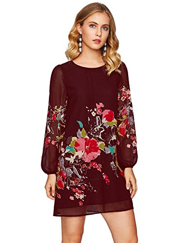 A-line Sheath (Floerns Women's Floral Print Chiffon Sleeve Round Neck Casual Sheath A-Line Shift Dresses Red L)