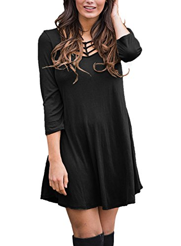 Alvaq Women's Best Cage Front 3/4 Sleeves Loose Casual Blouse T-Shirt Dress