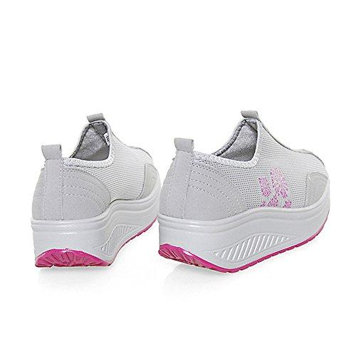EnllerviiD Damen Sneaker Atmungsaktiv Mesh-oberfläche Schuhe Laufschuhe Plateau Slip On Grau 35