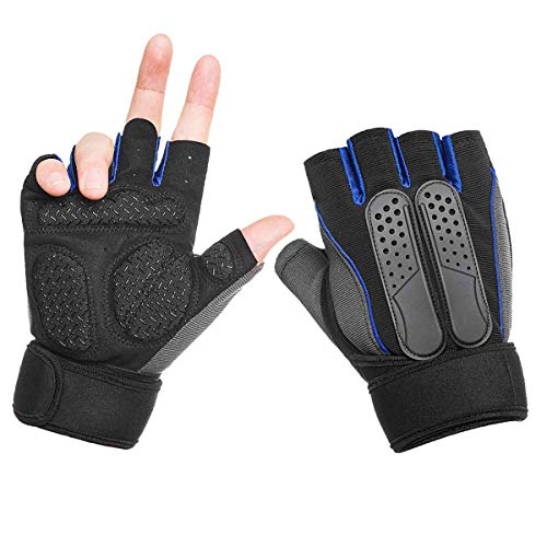 FLYSPEAR Workout Gloves, Weight Lifting Gloves, Gym Gloves with Wrist Wrap Support, Full Palm Protection, Breathable & Non-Slip,for Exercise, Training, Fitness, Cycling (Men & Women) (Blue, Large)