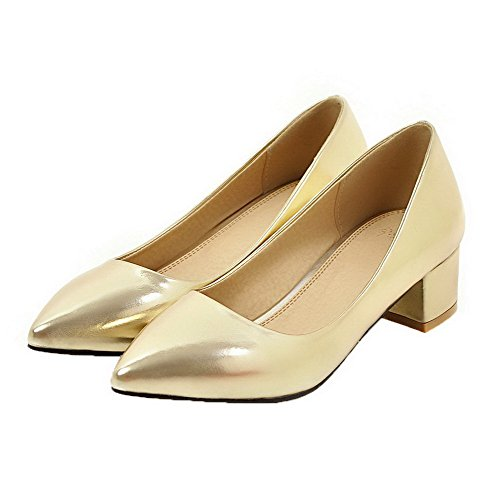 PU Kitten Toe Pumps 39 Odomolor Shoes Pull Heels Gold Closed Women's On Solid X6F10Z