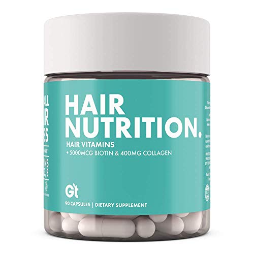 GT - Genesis Today Hair Nutrition Strong Healthy Hair Support Supplement - 5,000 mcg Biotin, 400mg Collagen - Vitamin Rich Repair - 90 Capsules