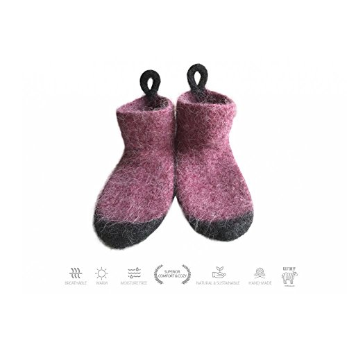 Kosy Sheep Handmade Natural & Organic 100% Pure Icelandic Wool Unisex Moisture Free Slipper Socks | Home Wear For Men & Women | Comfy & Cozy Home Socks - Size - Bordeau Color