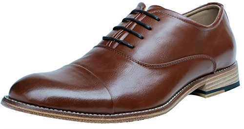FOCUS STEP Men's Cap-Toe Oxford Shoes Simple Classic Dress Shoes