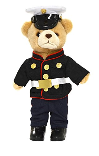 "Accented Apparel N More Stuffed 10"" tan Teddy Bear in U.S. Marine Corps Dress Blues Military Uniform"