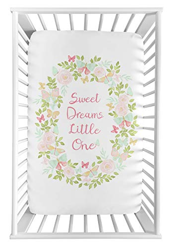 Sweet Jojo Designs Blush Pink, Mint and White Watercolor Rose Baby Fitted Mini Portable Crib Sheet for Butterfly Floral Collection - Sweet Dreams Little One