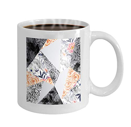 11 oz Coffee Mug ink doodle flowers leaves weeds abstract background drawn floral elements roses anemones Novelty Ceramic Gifts Tea Cup