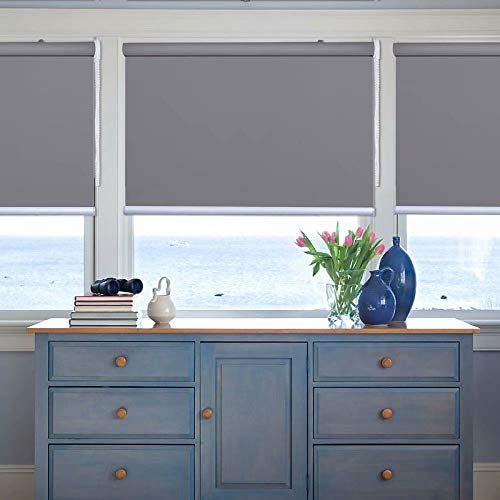 Kingmond Thermal Insulated 100 Blackout Waterproof Fabric Custom Window Roller Shades Blinds,70 W x 72 L, Gray