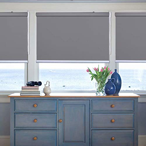 Kingmond Thermal Insulated 100% Blackout Waterproof Fabric Custom Window Roller Shades Blinds,57″ W x 80″ L, Gray