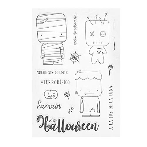 Stampin Up Halloween Stamp Sets (WHER Halloween Silicone DIY Clear Stamps Scrapbooking for Photo Album Paper Card Art Crafts)