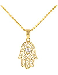 Solid 14K Gold Filigree Hamsa Hand of Fatima with Evil Eye Pendant Necklace