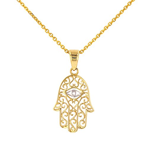 Solid 14K Gold Filigree Hamsa Hand of Fatima with Evil Eye Pendant Necklace, 16