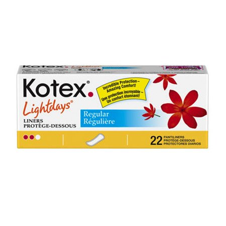 Kimberly Clark Kotex Lightdays Panty Liners - Model 85848 - Pkg of 22