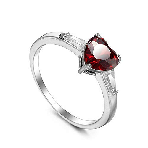 Tomikko Love Heart Cut Red Garnet Stylish Band Womens 925 Silver Wedding Ring Size 6-10 | Model RNG - 25438 | 8 ()