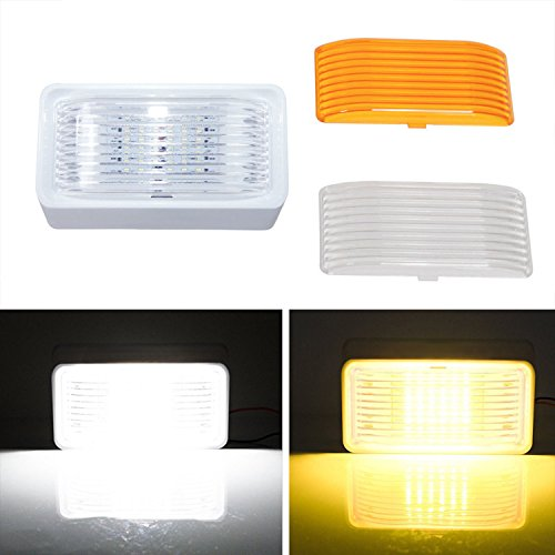 Kohree-LED-RV-Porch-Light-Exterior-Utility-Light-12v-Lighting-Fixture-280-Lumen-Replacement-Lighting-for-RVs-Trailers-Campers-5th-Wheels-White-Base-Clear-and-Amber-Lenses-Included