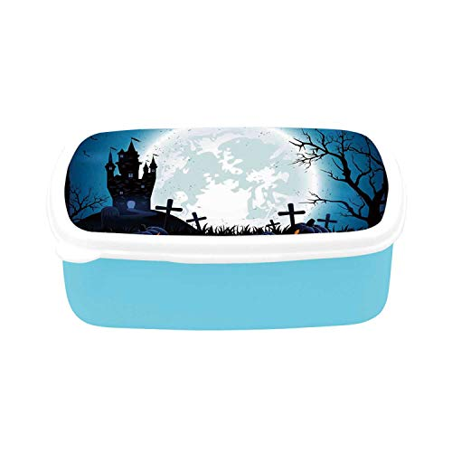 Halloween Decorations Simple Plastic Lunch Containers,Spooky Concept with Scary Icons Old Celtic Harvest Figures in Dark Image for home,7.09