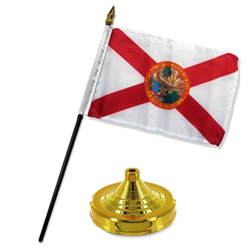 - ALBATROS Florida State Seal Flag 4 inch x 6 inch Desk Set Table Stick with Gold Base for Home and Parades, Official Party, All Weather Indoors Outdoors