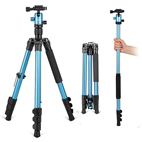 ZOMEI M3 Camera Tripod & Monopod Light Weight Travel Tripod with 360 Degree Ball Head, Quick Release Plate and Carrying Bag for Canon, Nikon, Samsung, Phone, Camcorder, Projector(Blue) by ZoMei