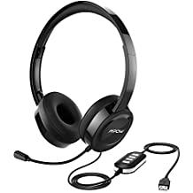 Mpow 158 USB Headset/3.5mm Computer Headset, Soft Memory-Protein Earmuffs, Noise Cancelling Headset with Microphone, Lightweight On-Ear Headphones, Wide Compatibility for PC,Cell Phone,Tablet