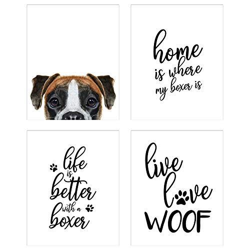 Summit Designs Boxer Wall Art Décor Prints - Set of 4 (8x10) Unframed Poster Photos - Dog Puppy Quotes ()