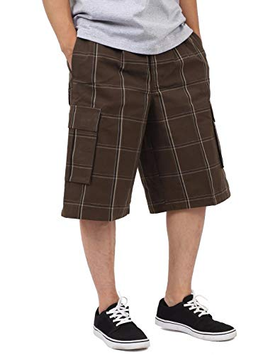 - SP1704_XL Relaxed fit Plaid Cargo Shorts Brown 1X