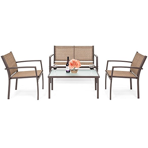 Best Choice Products 4-Piece Patio Metal Conversation Furniture Set w/Loveseat, 2 Chairs, and Glass Coffee Table- (4 Seater Patio Set)