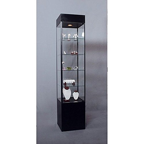 Cabinet Square Tower Display Case Retail Fixture Assembled Showcase US Made Black 75''H x 16''W NEW by Bentley's Display